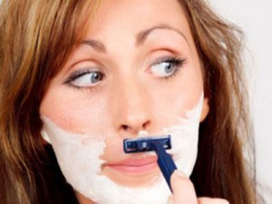 Lady Shaving Her Face